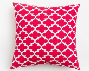 Pink Trellis Pillow / Square Throw Pillow / Pop Art Collection / Pink and White / Invisible Zipper / Washable Pillow / Made in the USA