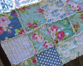 Pick Size Rag Quilt - Tanya Whelan - Sadies - King Queen Full Twin xl Throw - Blue - Jade - Green - Modern Handmade Bedding