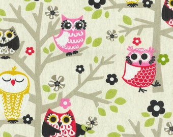 Two 20x20 Custom Pillow Covers -  Owls on Tree - Green/Pink/Yellow