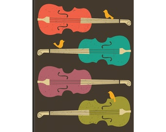 iCanvas Birds On A Cello String Gallery Wrapped Canvas Art Print by Jazzberry Blue