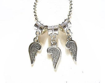 3 pieces - Angel Wing, Dangle Charms, Silver plated and Tibetan Silver, Double Sided, for Euro Bracelets or Pendants