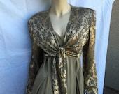 Formal jumpsuit pant suit vintage gold brocade Scarlett divided skirt pants lounging pajamas hostess party dress