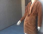 Leather womens suit bolero jacket & pencil skirt business sexy size 4 2-pc vintage Wilson blazer cognac leather 1980s 1990s