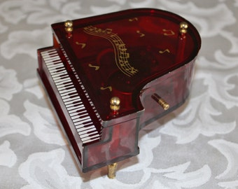 Vintage Piano Music Box Lucite