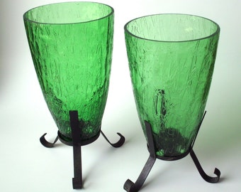 Vintage Taper Candle Holders with Green Art Glass Shades, Sconces