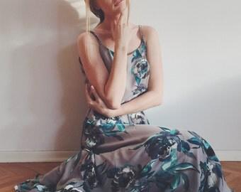 Floral print maxi chiffon dress with scoop back Bridesmaid dress Wedding dress Rehearsal dinner romantic rustic dress