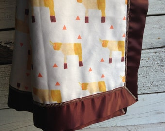 SALE - Organic Baby Blanket, Sunny Rhino and Fleece with Brown Satin Trim, GOTS Organic Baby Blanket