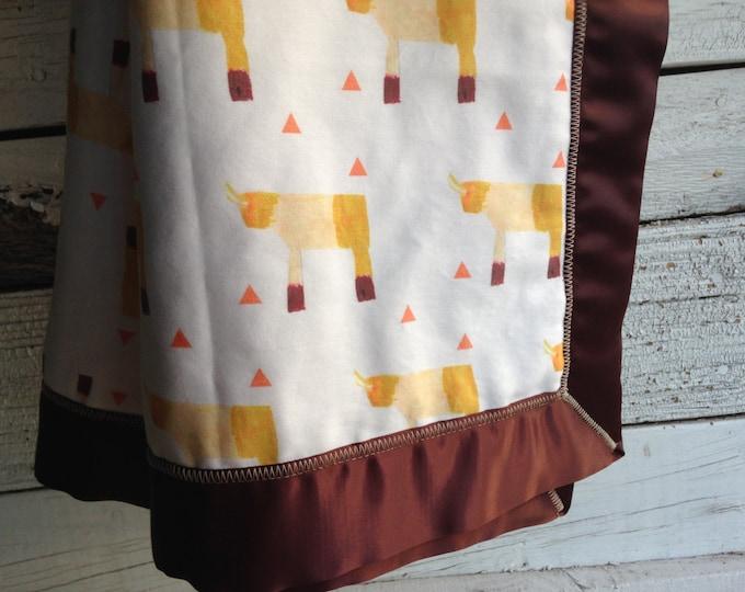 SALE - Organic Baby Blanket, Sunny Rhino and Fleece with Brown Satin Trim, GOTS Organic Baby Blanket