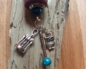 Thirsty Owl wine cork Keychain/ wine cork keychain/ wine lovers gift/ owl lovers/ wine charms/ amethyst crystal beads, purple