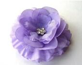 "ON SALE CLEARANCE Purple Hair Flower - Lavender Flower Clip - 3"" Emma Flower - Hair Clip or Brooch - Rhinestone Flower - Hair Flowers"