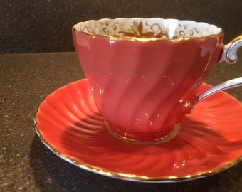RARE Signed Aynsley Teacup & Saucer Bone China Set Vintage Antique Collectible Tea Set