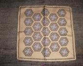 French Gentlemans Silk Hanky Handkerchief Cream & Brown Mouchoir Soie 1940/50s