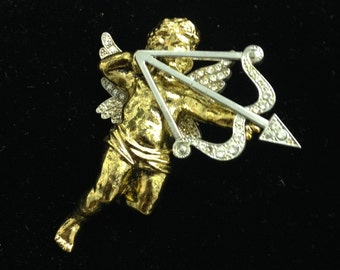VINTAGE Gold and Silver Costume  CUPID BROOCH with Rhinestone Bow and Wings