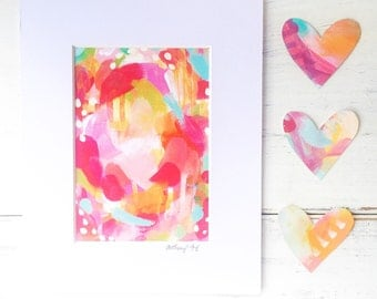 """Colorful Abstract Art Print """"Sweet Party"""" 5x7 inch matted to 8x10 inch"""