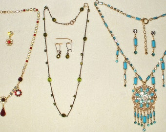 3 Amazing Vintage Rhinestone necklace sets