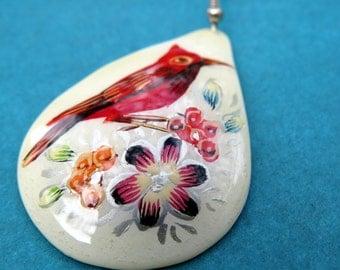 White Teardrop Cardinal Earrings