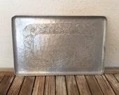 Vintage Forged Aluminum Tray Intaglio Design