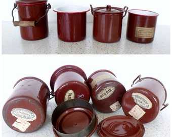 Rare Czechoslovakia Enamelware Set of 4 Small Brown / Red Rim Vintage