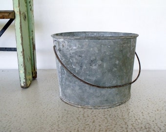 Small Galvanized Bucket Metal Pail Vintage Rustic with Bail