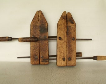 Wood Clamps Large Set 2 Vintage Carpenters Parallel Adjustable Screw Cabinet