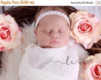 SALE 25% OFF - Newborn Baby Swaddle Wrap AND / Or Headband in White Embroidered Rose Design for newborn shoots by Lil Miss Sweet Pea