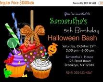 25% OFF SALE Printable Halloween Birthday party, Invitation Custom Personalized Digital File, DIY Printable