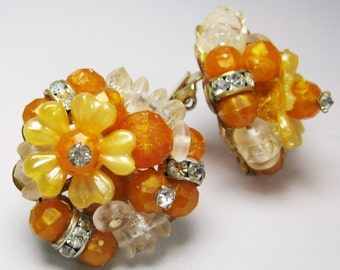 Cluster Earrings -Tangerine Lucite - Plastic Earrings - Clip-ons