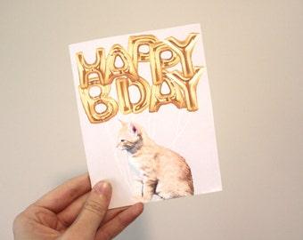 Happy Birthday Card- Cat Foil Balloons