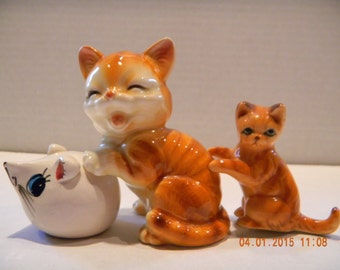 Vintage cat and mouse figurines..one a shaker..mouse made in England