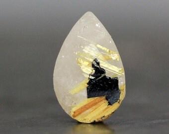 Teardrop Unpolished Crystal Golden Star Quartz Hematite Rutile Included Raw Gemstone Unique Jewelry Collector Rough Rock Specimen (CA5873)