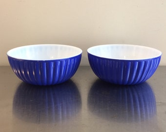 Blue Milk Glass Cereal Bowls, Pair