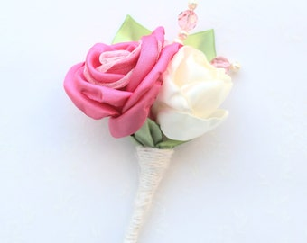Coral Pink Ivory Roses Boutonniere/ Wedding Lapel Pin/ Handmade Rustic Wedding Accessory