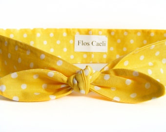 Light Yellow Headband - Yellow Polka Dot Hair Scarf - Women Turban - Hair Scarf Retro Pin Up