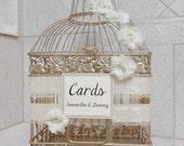 Large Bling Champagne Gold Wedding Birdcage Card Holder / Wedding Card Box / Wedding Card Holder / Bling Wedding Decor / Ivory Wedding Decor