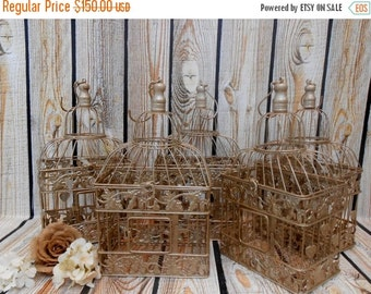 15% OFF SALE FIVE Champagne Gold Wedding Table Centerpieces / Wedding Birdcage / Birdcage Centerpieces / Wedding Decor / Table Centerpieces