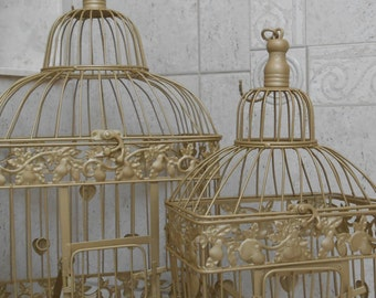 Champagne Gold Wedding Birdcage Set / Wedding Card Holder / Wedding Card Box / DIY Wedding Birdcage / Gold Birdcages / Wedding Decor