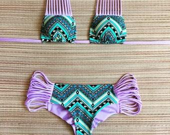 SALE Pastel Lavender Turquoise Multi Strap Cheeky Bikini