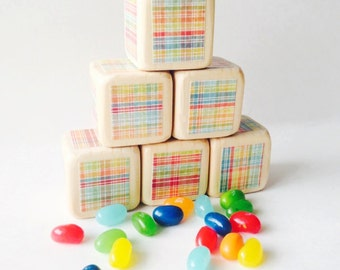 Preppy Plaid Colorful Rainbow Nursery Decor.  Baby. Blocks.  Wood toy. Baby Shower Decoration. Kids Birthday. Wooden blocks. Toddler gift.