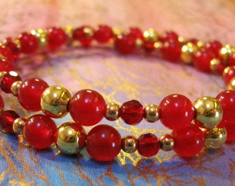 Red and Gold Beaded Bracelet on Gold Tone Memory Wire