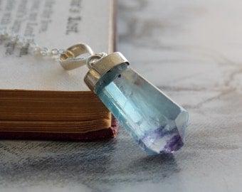 Fluorite Point Crystal Pendant Necklace, Sterling Silver, Modern, Minimalist, Gemstone Layering Necklace