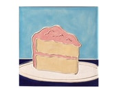 Piece of Cake Accent Decorative Tile Pink Turquoise and Blue Birthday Dessert Kitchen Handmade with Love mosaic