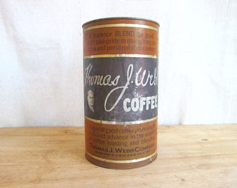 Vintage Metal Thomas J Webb 3lb Coffee Tins,  Coffee tin ~ Vintage Industrial Home Decor Kitchen Canisters, Unique Housewarming Gifts