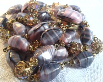 Vintage 50s Givre Glass Bead Necklace, Double Strand, Pink, Grey and Black.