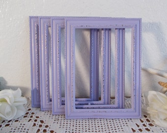 Lavender Purple Shabby Chic Picture Frame 4x6, 5x7 Photo Decoration Spring Summer Wedding Reception Table Number Decor Country Cottage Home