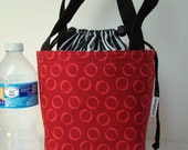 Lunchbag, lunch box, Drawstring Insulated lunch bag,  BPA Free, Food safe Lunch Cooler Red and Black Lunch Sack