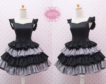 Black Satin Jumper Skirt Sweetheart Neckline Combined With Grey and Black Chiffon Ruffle Skirt - Black Swan Costume - Custom in your size