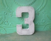 Wood and Ivory Number Three Photo Prop Sign, Ivory Number Three Birthday Prop, Prop for Photos