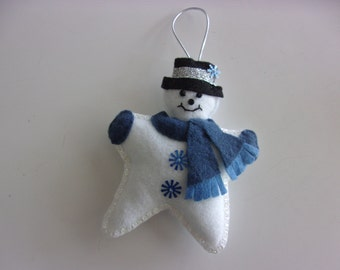 "Handmade Felt Snowman Ornament Blue 6""x5"""