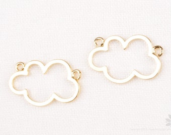 P795-G// Glossy Gold Plated Cloud Shape Connector, 2pcs