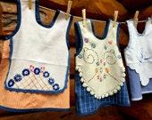 Girl Pinafore, Baby Dress, 12 to 24 month,  Repurposed, Vintage Linens, Orange, Blue, Toddler